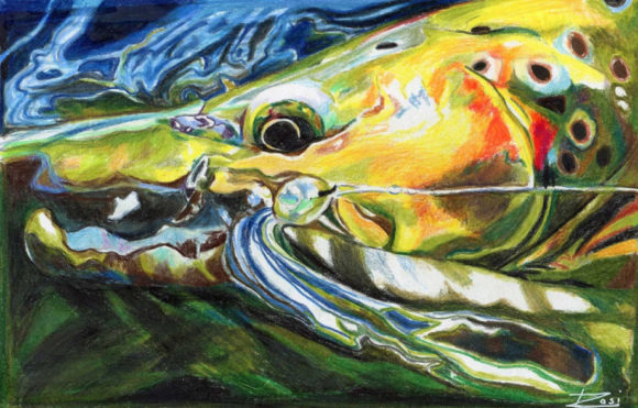 'Brown Trout With Capt. Hook' by Rosi Oldenburg