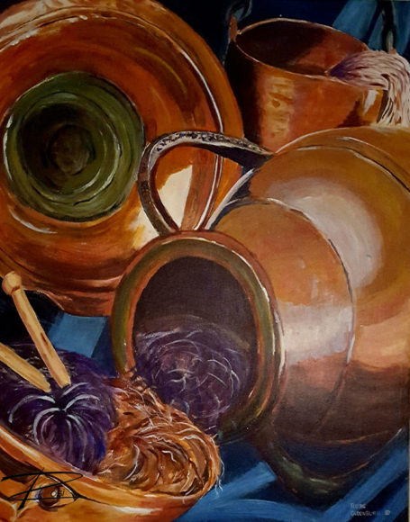 'Copper Pots by Rosi Oldenburg